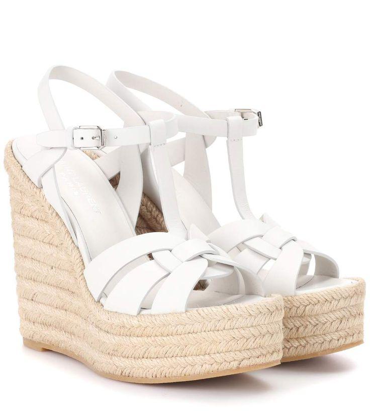 Saint Laurent Leather espadrille wedge sandals