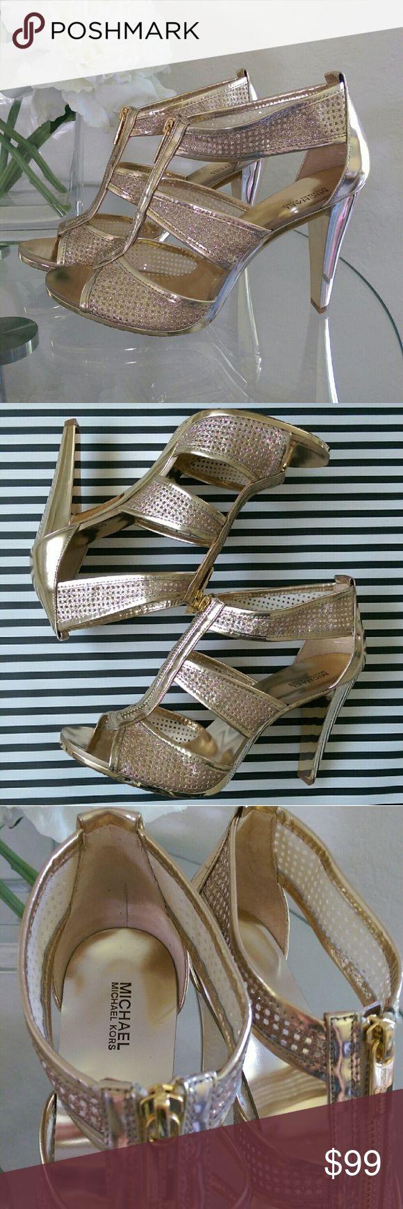 Michael Kors Gold Sandals Heels Shoes New Hard To Find MK Sandals Michael Kors  Shoes Heels