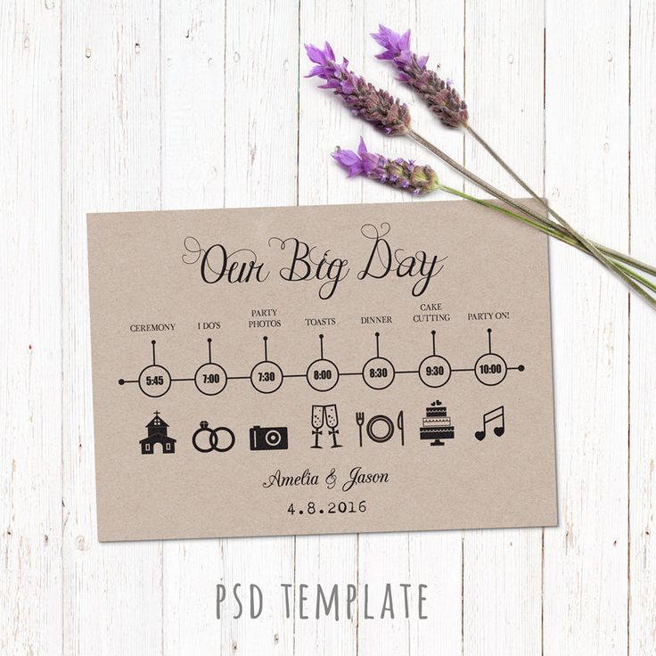 Wedding timeline custom template card. Digital printable timeline card design. Fully editable Photoshop PSD file 5x7 inch. by PenguinGraphics on Etsy