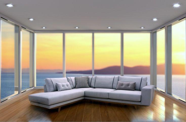 Γωνιακός καναπές με ξύλινη μπάζα από μασίφ ξύλο.Διατίθεται σε διαστάσεις και χρώματα της επιλογής σας.