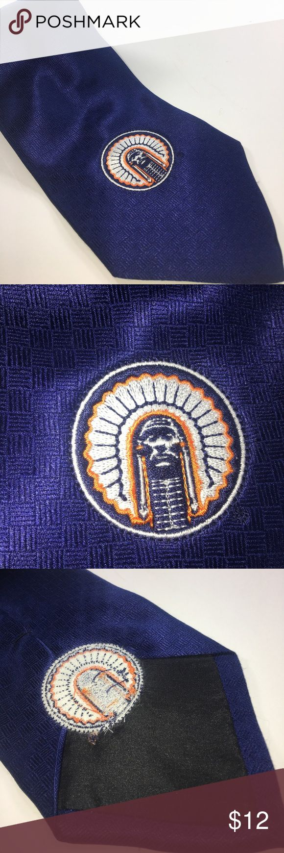 Fighting Illini Blue With Logo 100% Silk Tie Very Good Condition Some Normal Wear No Visible Stains Or Tearing See Pictures. T045 Merge Left Accessories Ties
