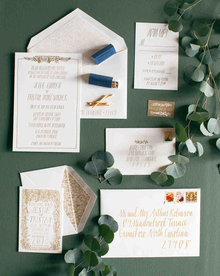 A DIY Wedding, With a Ceremony in a Pool | Martha Stewart Weddings - The greenery around the cottage inspired the wedding paper suite, all designed and calligraphed by Jessie, who runs Hew & Co. stationery company.