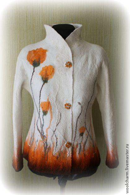 Пиджаки, жакеты ручной работы. Ярмарка Мастеров - ручная работа Жакет валяный Оранжевые маки. Handmade.