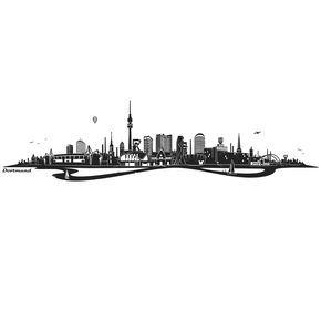 Wandtattoo Skyline Dortmund ohne Fluss