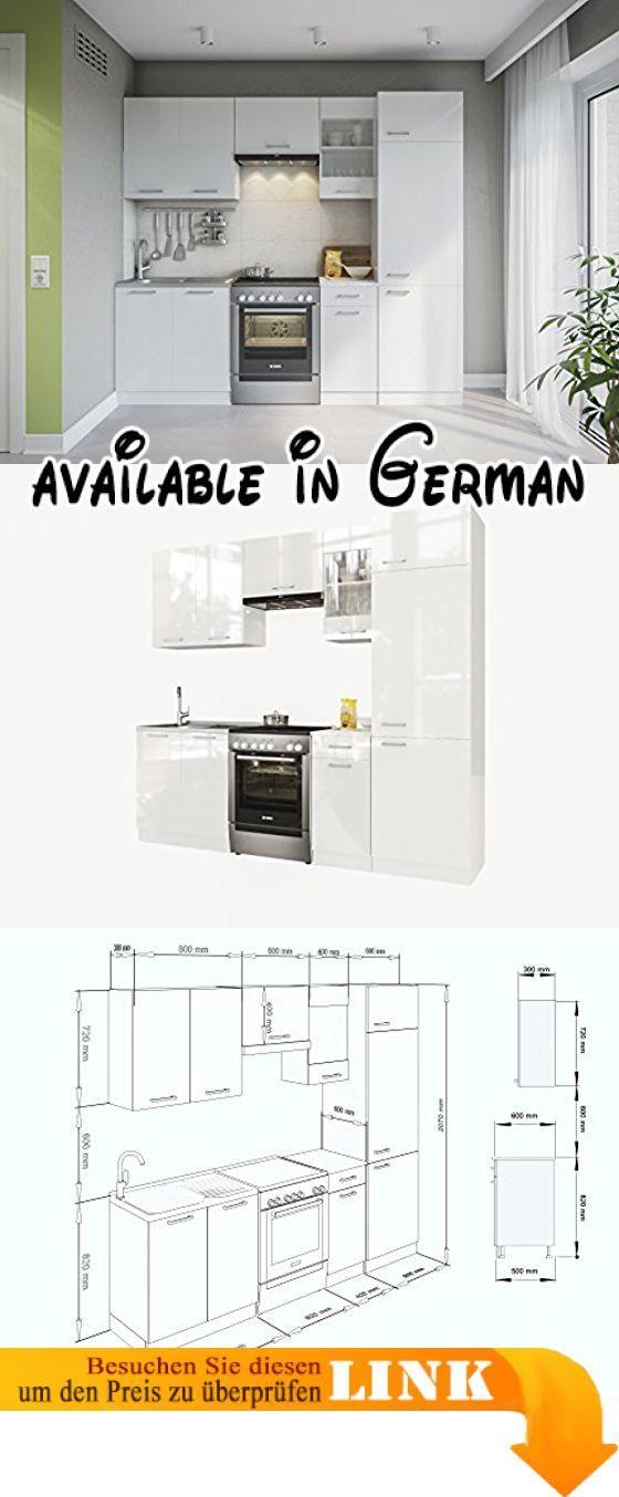 B076dn3pxv Eldorado Möbel Küche Martha 240 Weißlack Küchenzeile