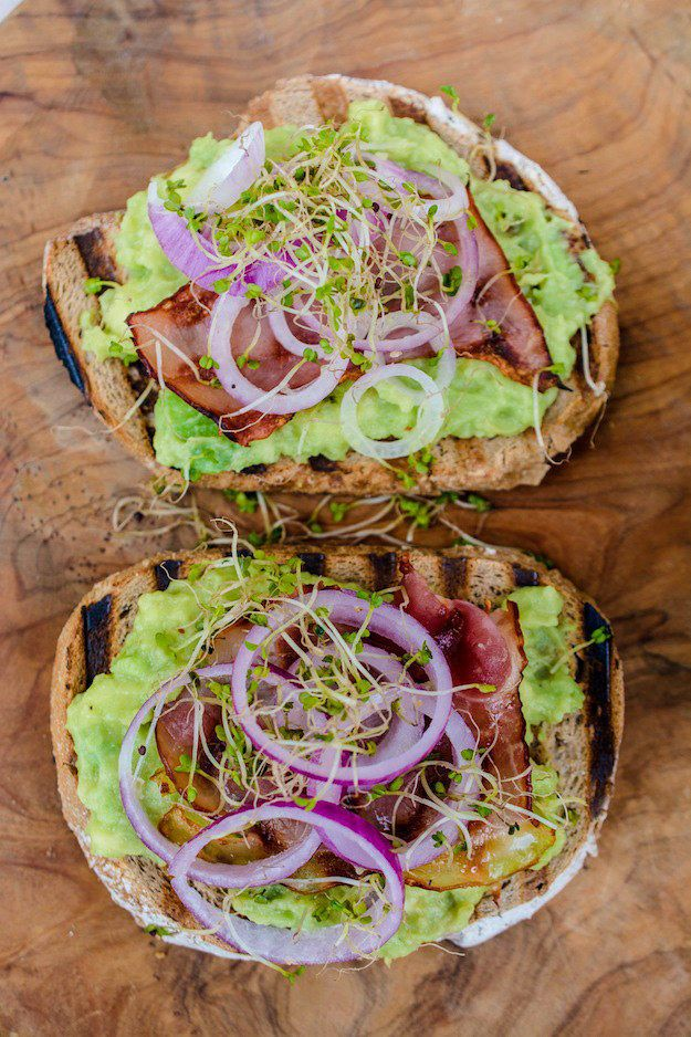 Prosciutto, Sprout, and Avocado Sandwich on Chargrilled Peasant Bread
