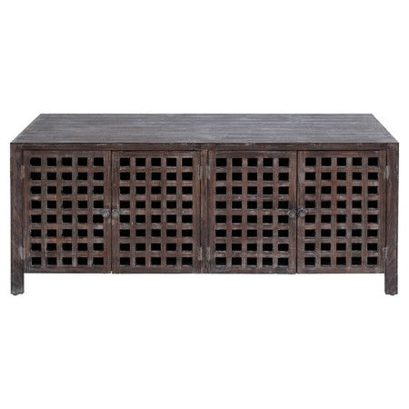 Antiqued Brown Media Cabinet With Four Asian Style Latticed Doors.  Jossandmain Product: Media