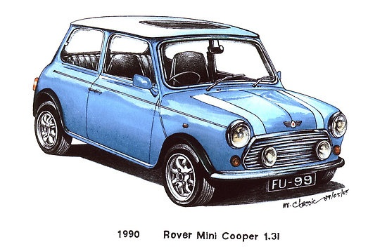 light blue 1990 Rover Mini Cooper Car