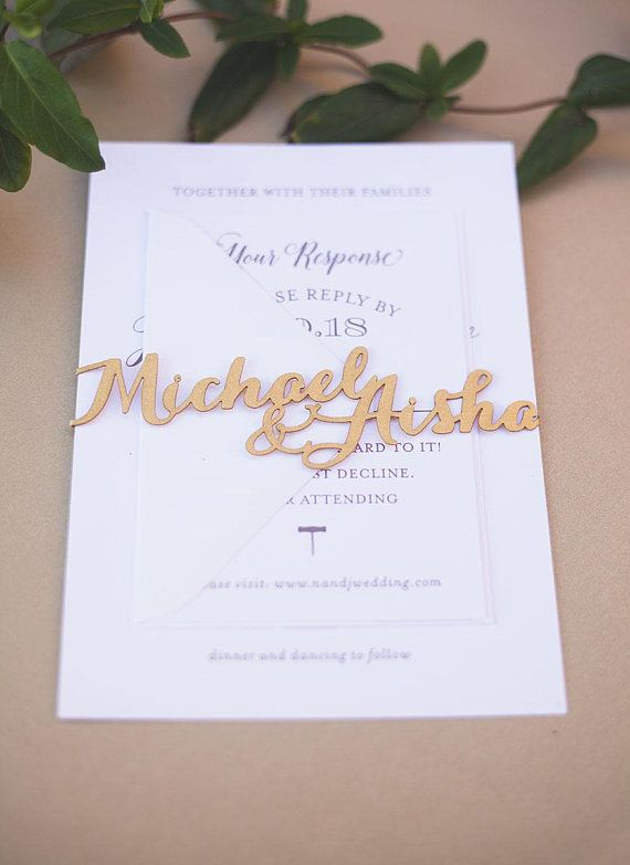 Laser Cut Belly Band With Custom Names For Wedding