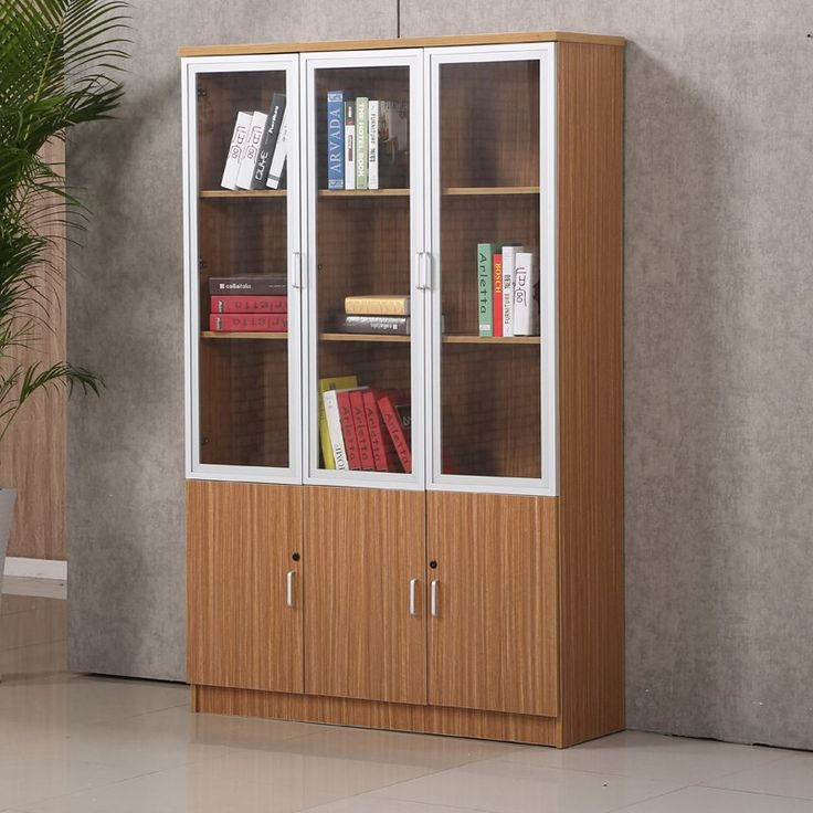 Excellent Quality Office Book Self Furniture Wooden Bookcase Modern Glass Door Cabinet