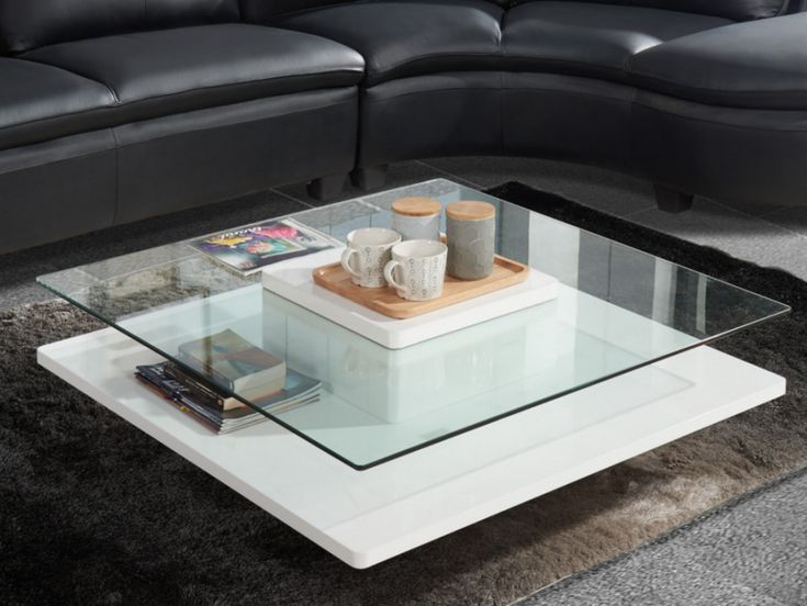 Table basse ISANIA - Verre trempé & MDF blanc