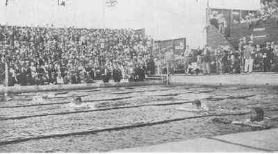 1928 Olympic swimming pool, Amsterdam, Men's 200m Breaststroke.  The pool was demolished a year after the games.