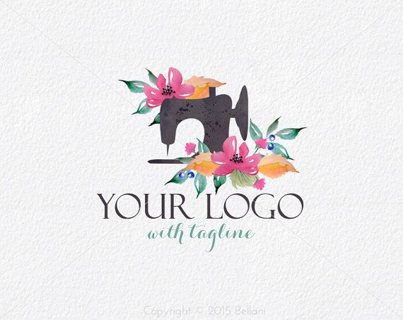 Branding Watercolor Sewing Machine Logo design