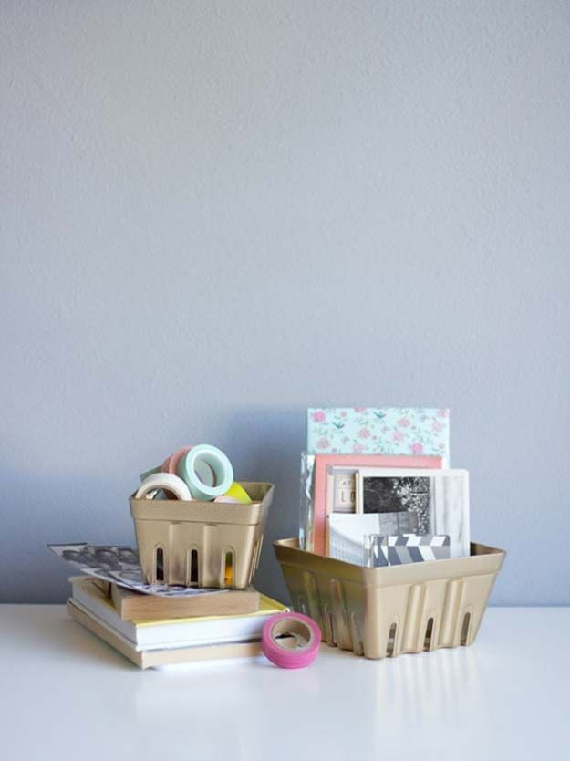 Fun DIY Ideas for Your Desk - DIY Gold Berry Basket Organizers - Cubicles, Ideas for Teens and Student - Cheap Dollar Tree Storage and Decor for Offices and Home - Cool DIY Projects and Crafts for Teens http://diyprojectsforteens.com/diy-ideas-desk