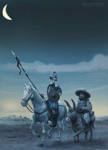 leaving la Mancha  Don Quixote and his faithful squire Sancho set out in search of adventure..  Tom McGrath 2015 For Oxford university press
