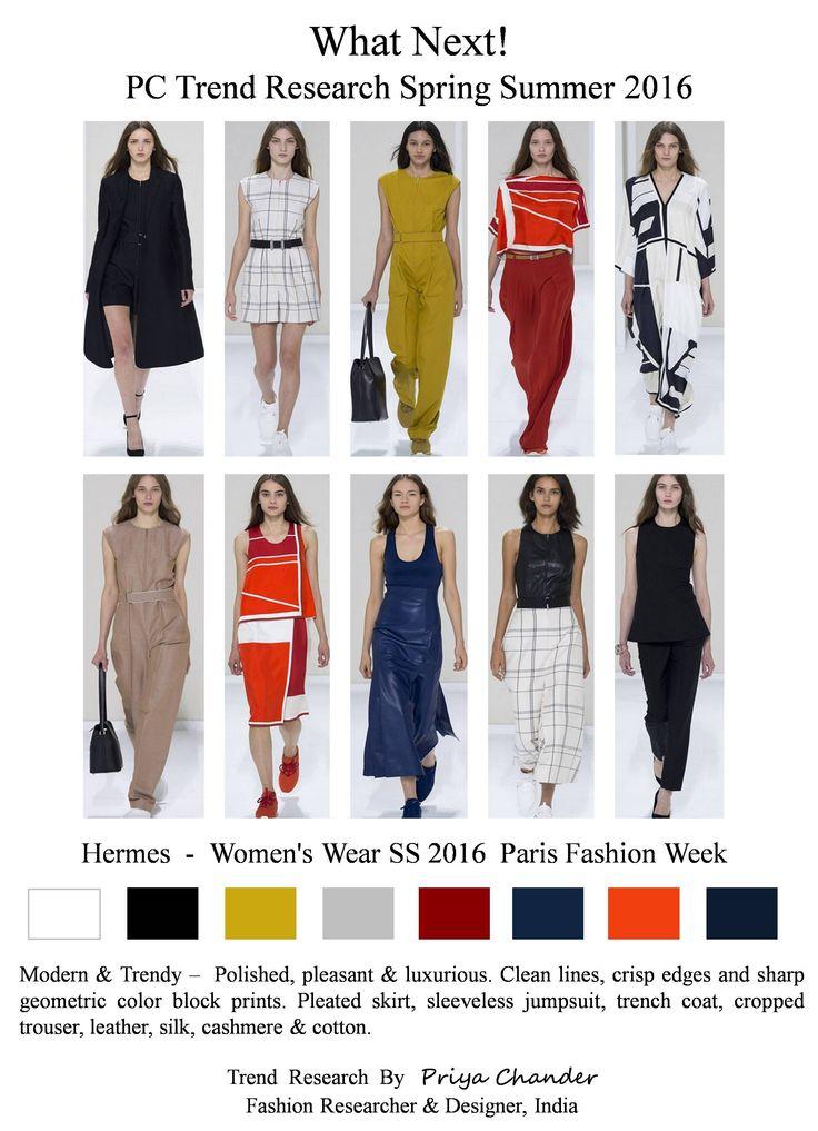 #NadègeVanheeCybulski #Hermes #SS16 #PFW #womenswear #cleanlines #geometricblockprints #jumpsuit #pleatedskirt #black #red #orange #navy #croppedtrouser #pctrendresearch #leather #silk #cashmere #cotton #luxurious #checks #white #beautifulcollection #Parisfashionweek