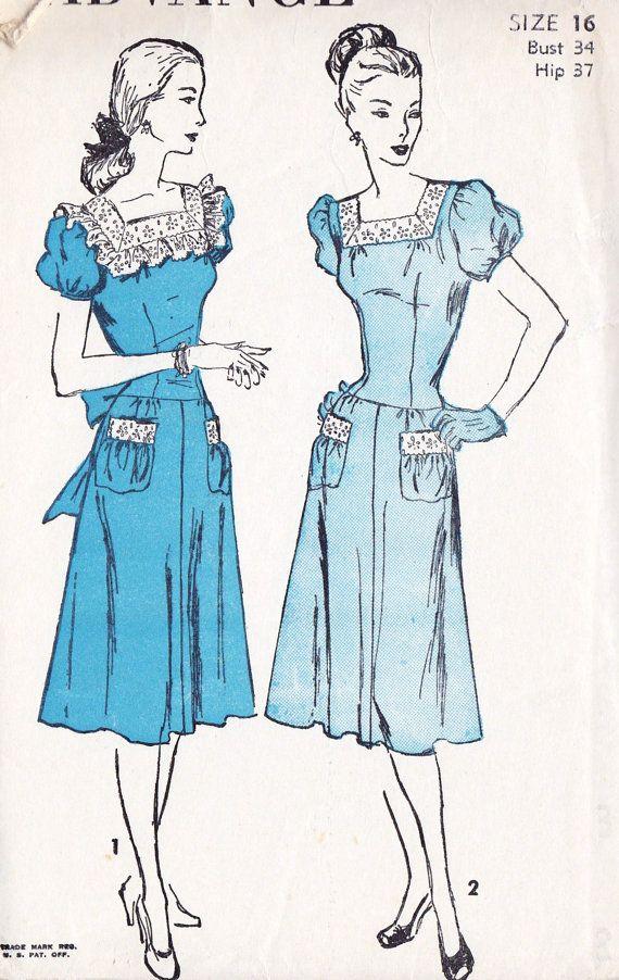 "1940s Misses Dress Vintage Sewing Pattern, Square Neckline, Drop Waist, Puffl Sleeves, Advance 4518 Bust 34"" uncut"