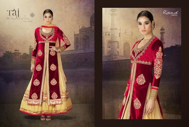 Very Classy and Rich Maroon and Beige Pure velvet long jacket & net lehenga with Heavy Hand and Machine Work. Comes along with Santoon Bottom and Inner and Chiffon Dupatta.
