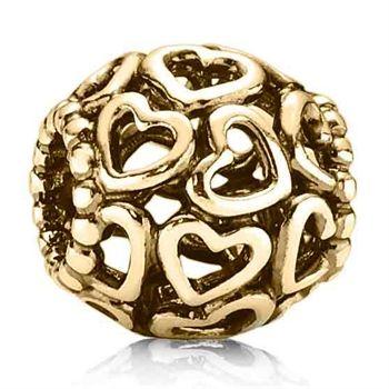 Pandora Charm Openwork Hearts Gold #VonMaur #Pandora #Charm #Heart
