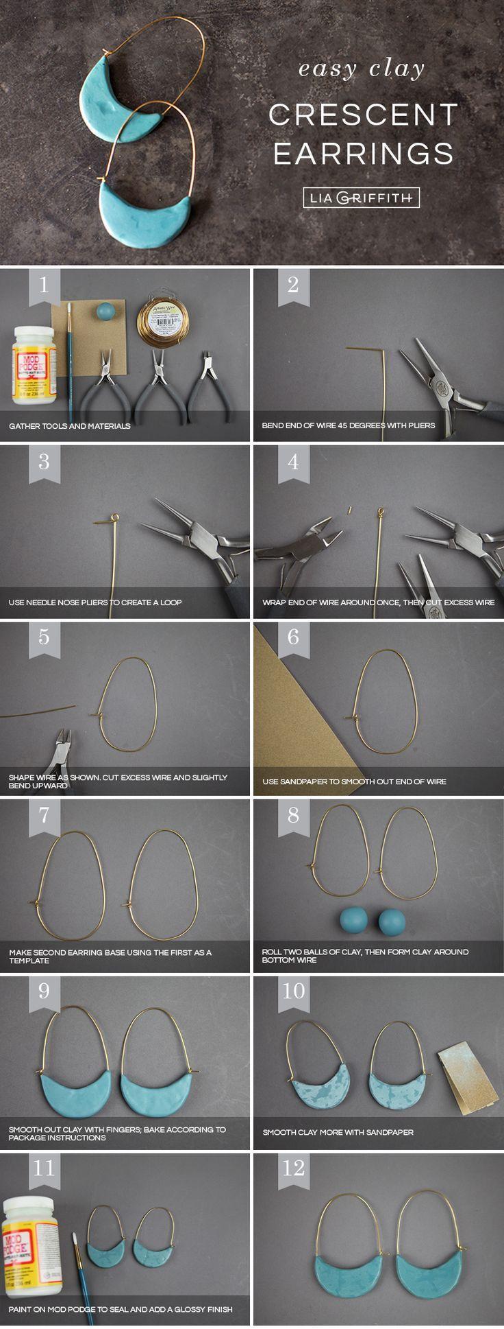 Clay it Up ❤️✨Wir zeigen Ihnen, wie Sie diese halbmondförmigen Creolen machen