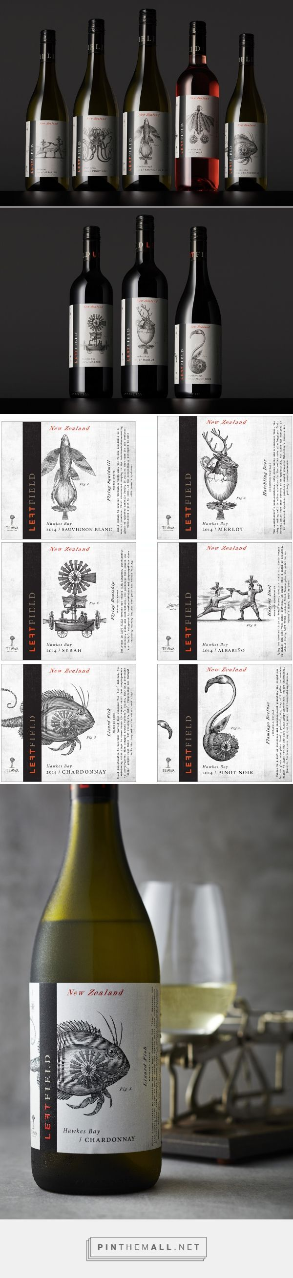 Left Field Wine Label Illustrations by Steven Noble on Behance curated by Packaging Diva PD. Illustrated wine packaging fun. #taninotanino