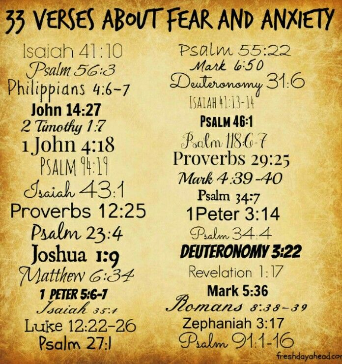 "33 Verses to Remind Us - We Do Not Have to Fear: 1. ""So do not fear, for I am with you; do not be dismayed, for I am your God. I will strengthen you and help you; I will uphold you with my righteous right hand."" Isaiah 41:10 2. ""When I am afraid, I put my trust in you."" Psalm 56:3 3. ""Do not be anxious about anything, but in every situation, byprayer and petition, with thanksgiving, present your requests to God. And the peace of God, which transcends all understanding, will guard your hearts…"