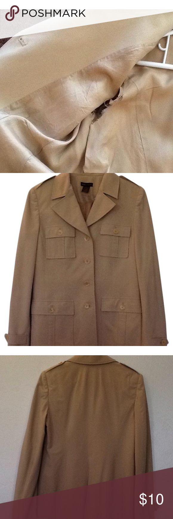 Woman's suit jacket Camel color jacket great for work with dress pants or with skinny jeans for a night out! Slight tear in inside lining. (See photo) no damage on outside layer. grace dane lewis Jackets & Coats Blazers