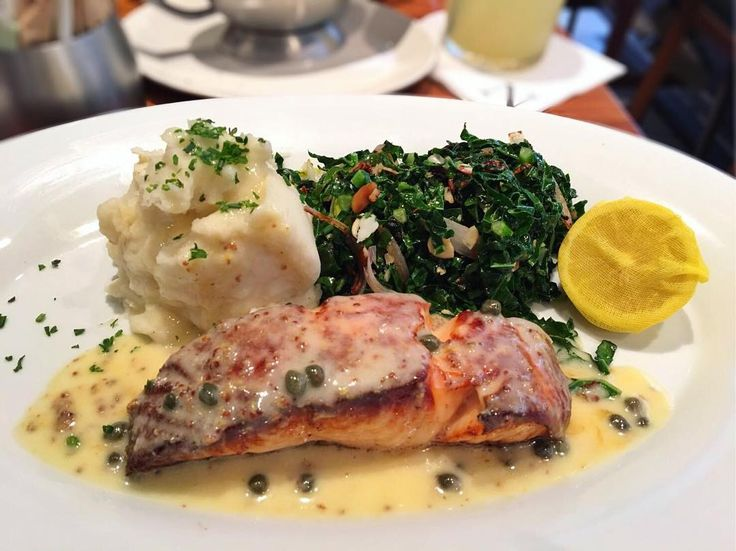 "2017 ""Pan Seared Scottish Salmon, served with  #caper#mustard#beureblanc sauteed #kale with #garlic…"""