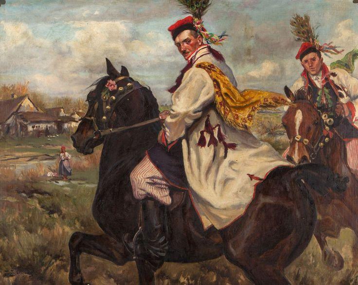 Zygmunt Józefczyk - KONNI DRUŻBOWIE W KRAKOWSKICH STROJACH, 1924 Olej, płótno 95 x 121 cm,