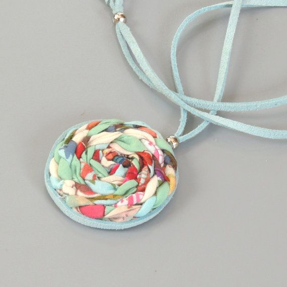 Adjustable circle necklace, Eco friendly Braided Fabric Necklace, adjustable necklace, childrens jewelry, bat mitzvah gift