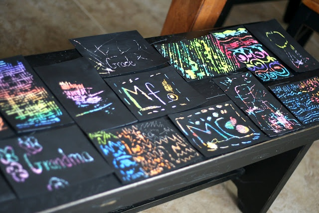 Scratch Art- Crayon design on card stock. Paint black acrylic paint on top with foam brush. Etch a picture so the crayon underneath shows through.