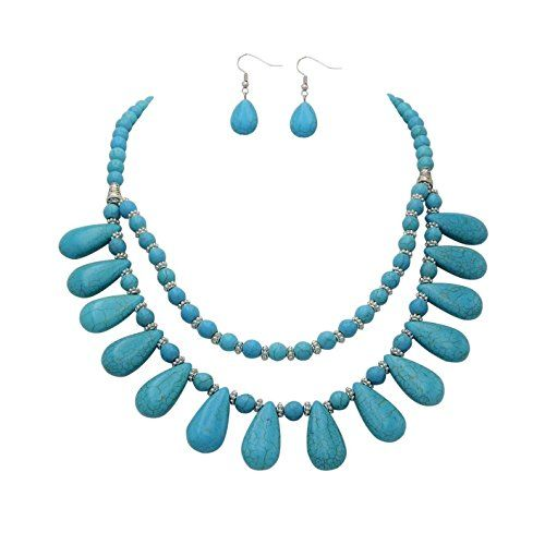 Rosemarie Collections Women's Boho Turquoise Teardrop Southwest Jewelry Set