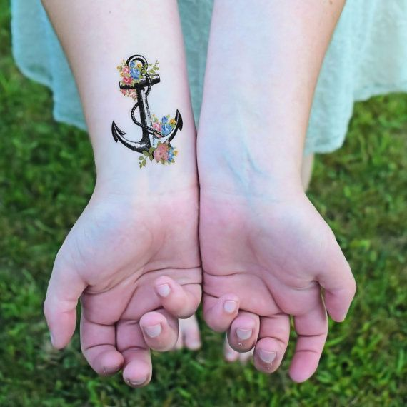 Floral Anchor temporary tattoo Anchor Sea life by Siideways