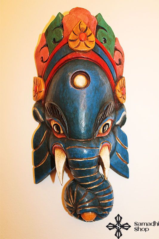 Ganesha Wooden Mask Wall Hanging (blue)