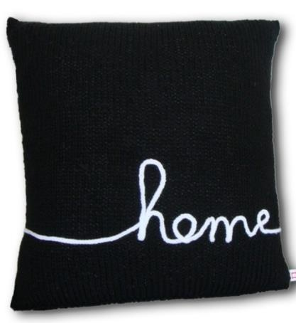 Cushion with french knitting text 'home'