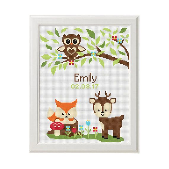 Baby cross stitch nursery personalized Cross by AnimalsCrossStitch