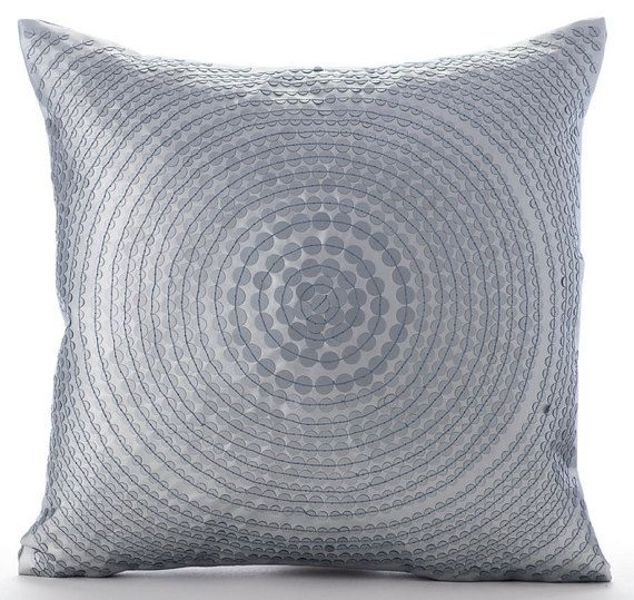 Around Silver  - Sequin Embroidered Leather Throw Pillow.