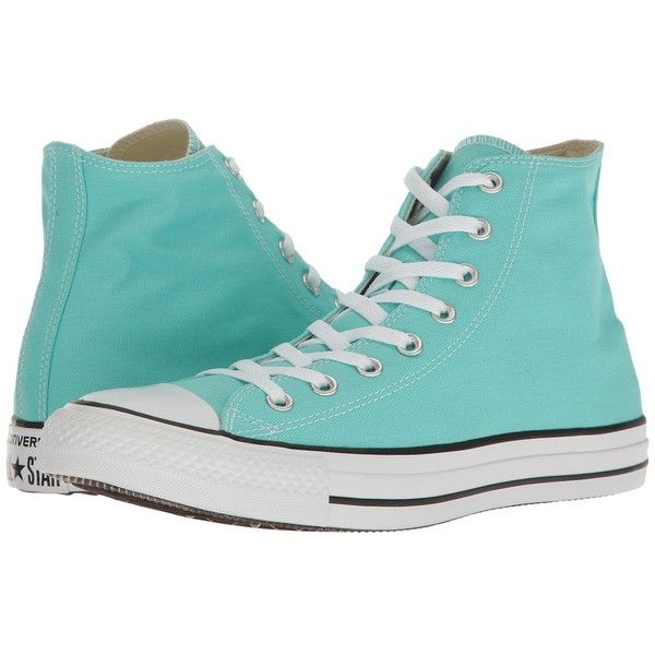 Converse Chuck Taylor All Star Seasonal Color Hi (Light Aqua) Lace up... ($55) ❤ liked on Polyvore featuring shoes, sneakers, converse, footwear, converse trainers, metallic shoes, converse high tops, metallic high tops and aqua sneakers