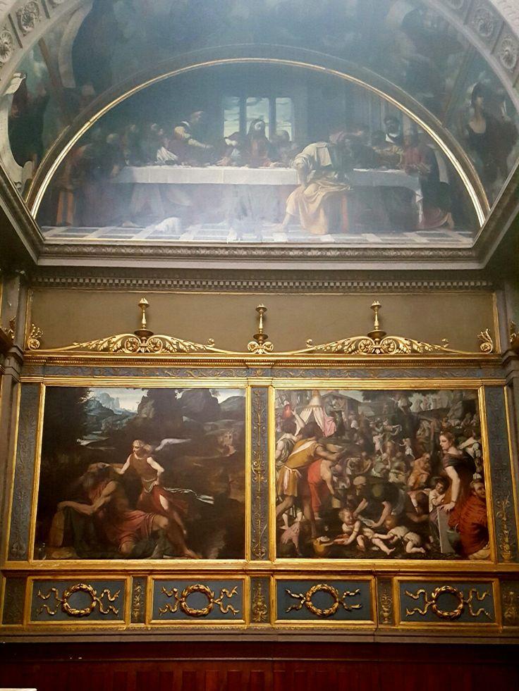 Chiesa di San Giovanni  Cappella del SS. Sacramento Lunotto: Ultima Cena Sx: Elia e l'angelo  Dx: Raccolta della manna Moretto