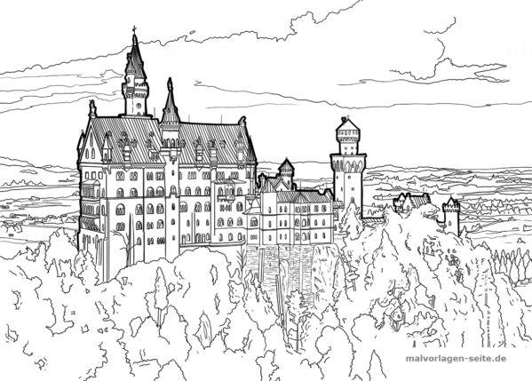 Ausmalbild Schloss Neuschwanstein kostenlos herunterladen