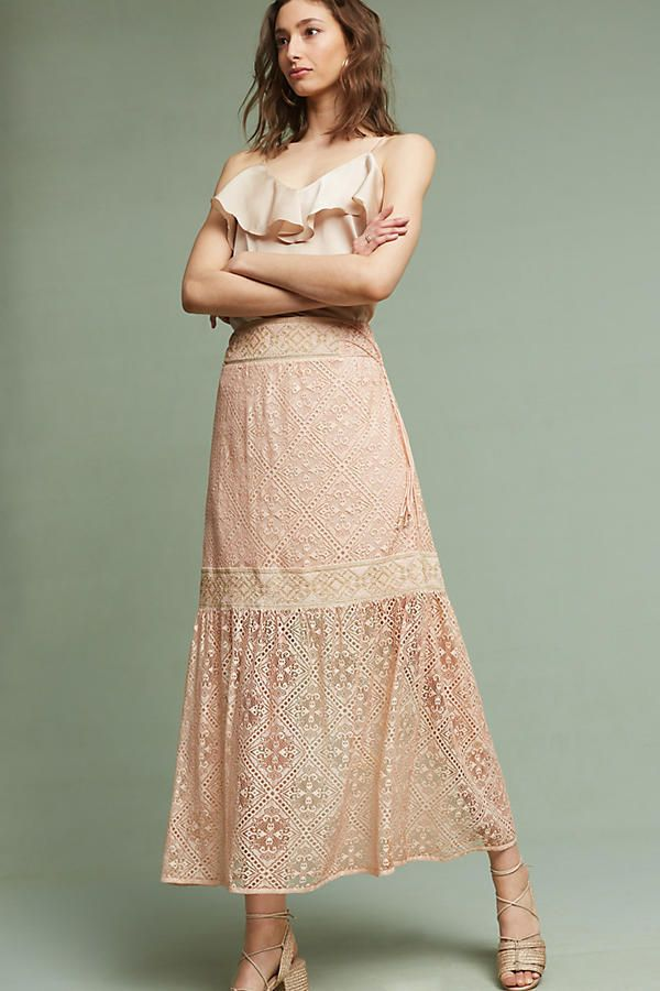 NWT ANTHROPOLOGIE ($178) QUEEN & PAUL MAXIMA PINK LACE MAXI SKIRT SIZE M #Anthropologie #Maxi