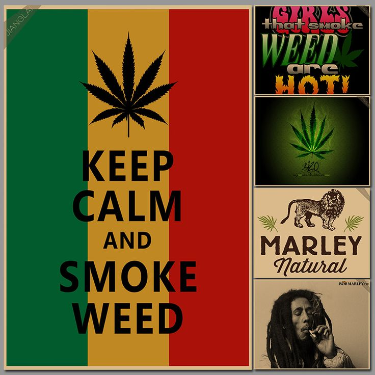 keep calm and smoke weed Jamaican reggae style kraft paper poster p015 #Affiliate