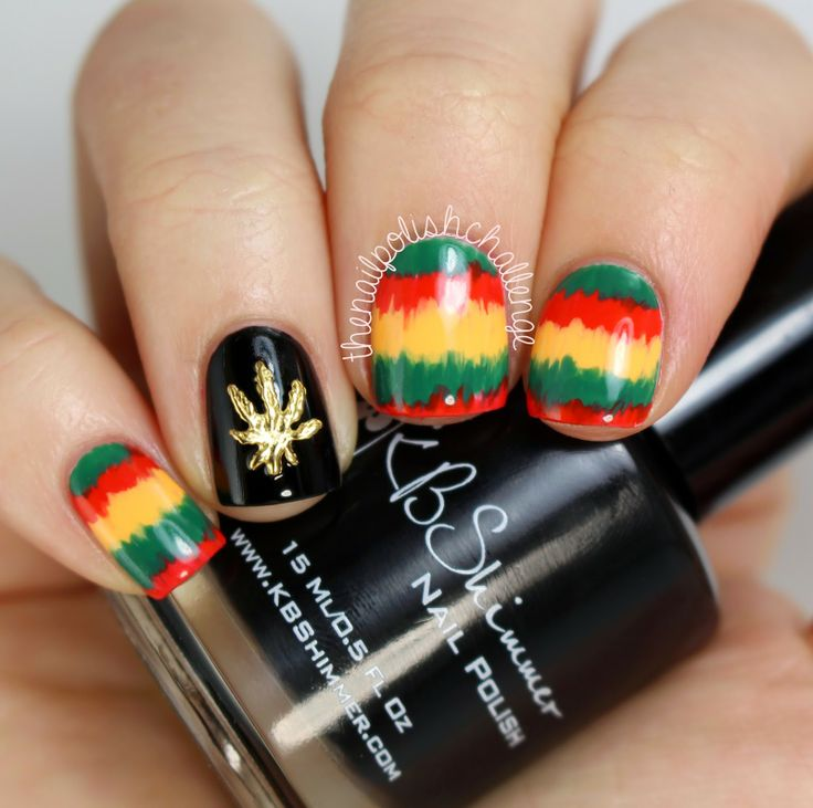 the nail polish challenge: Rasta Nail Art With Hex Nail Jewelry - 61 Best Rasta Nails Images On Pinterest Rasta Nails, Jamaica