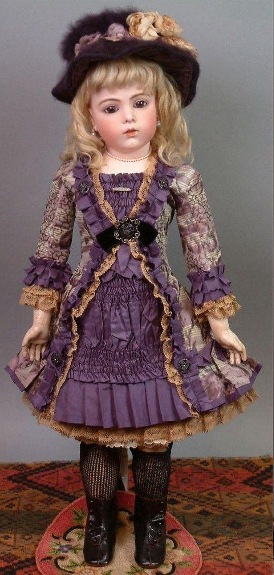 Léon Casimir Bru (1837-1918) — 22'' Bisque Socket Head Bebe in Purple Silk Frock Created from Antique Fabric, 1882-1887 (539x1130)