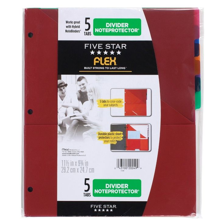 Mead Five Star Folder Binder Insert, 5 Tabs - Multicolor,