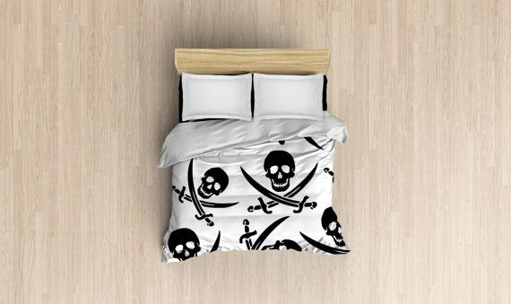 white and black pirate duvet cover, duvet cover, comforter cover, bedspread cover, high quality, 3 sizes available, king, queen, twin