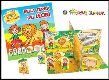 nino e nina nella terra dei leoni - libro gioco- touring junior - by irene mazza