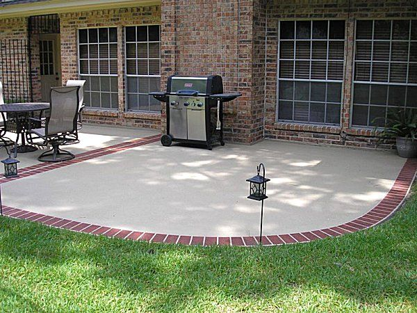 Backyard Concrete Patio Ideas backyard concrete patio designs backyard concrete ideas Find This Pin And More On Outdoors Sanctuary Brick Edging Around Concrete Patio