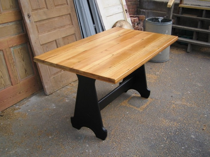Small Table With Natural Antique Pine Top And Black