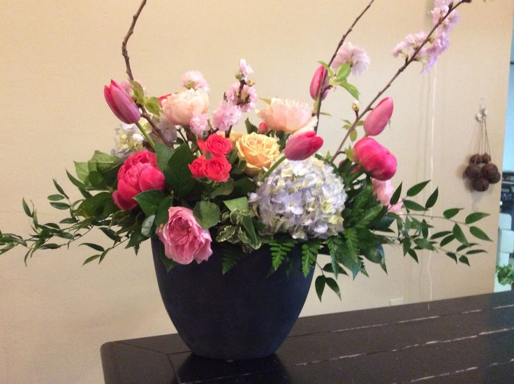 Coral Charm Peonies and Cherry Blossoms